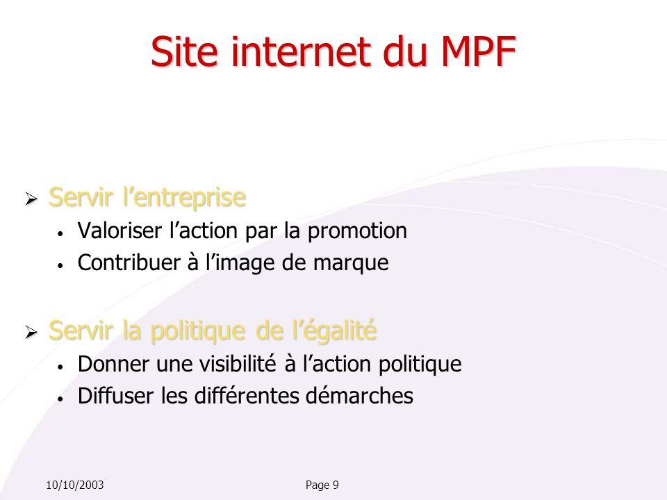 Page 910/10/2003  Servir l'entreprise Valoriser l'action par la promotion Contribuer à l'image de marque  Servir la politique de l'égalité Donner une visibilité à l'action politique Diffuser les différentes démarches Site internet du MPF