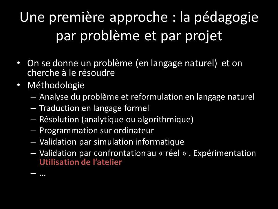 Une première approche : la pédagogie par problème et par projet On se donne un problème (en langage naturel) et on cherche à le résoudre Méthodologie