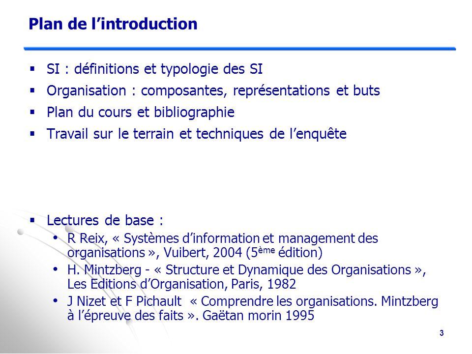 Objectifs du cours : comment traiter les problématiques Organisation – SI .