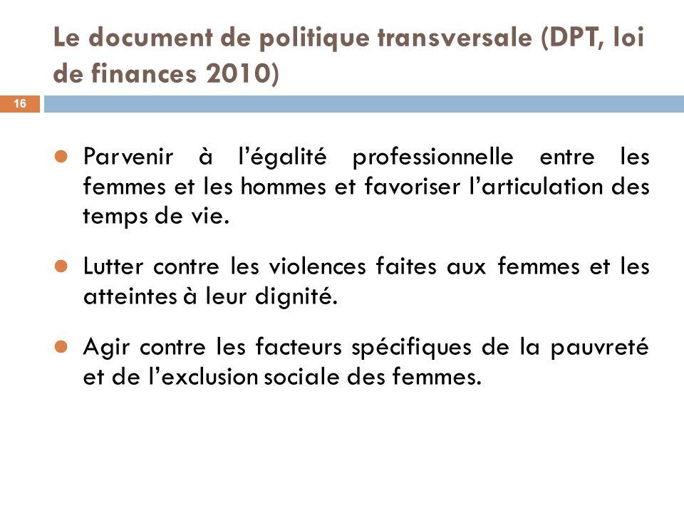 Le document de politique transversale (DPT, loi de finances 2010) 16 Parvenir à l'égalité professionnelle entre les femmes et les hommes et favoriser