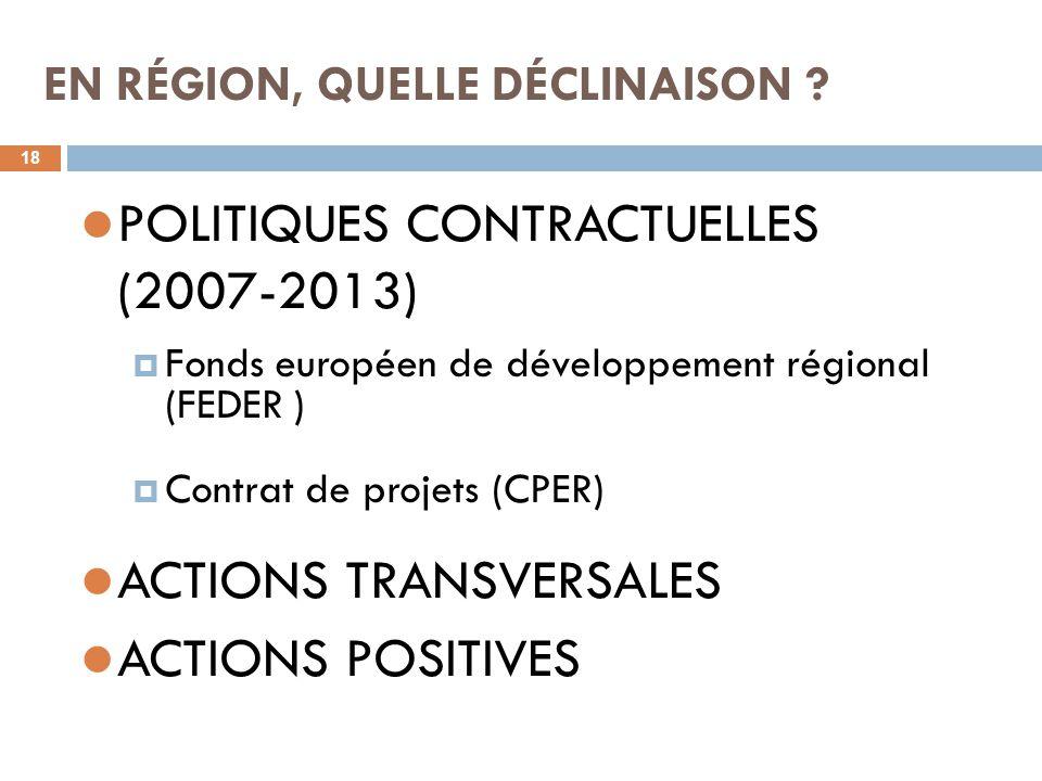 EN RÉGION, QUELLE DÉCLINAISON ? 18 POLITIQUES CONTRACTUELLES (2007-2013)  Fonds européen de développement régional (FEDER )  Contrat de projets (CPE