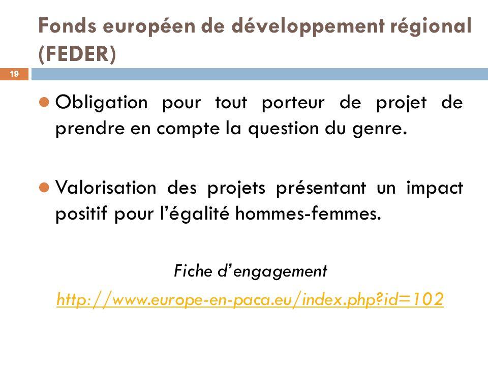 Fonds européen de développement régional (FEDER) 19 Obligation pour tout porteur de projet de prendre en compte la question du genre. Valorisation des