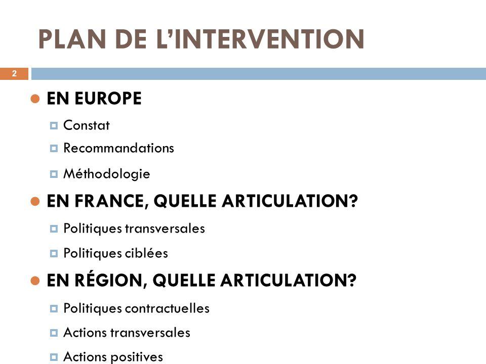 PLAN DE L'INTERVENTION 2 EN EUROPE  Constat  Recommandations  Méthodologie EN FRANCE, QUELLE ARTICULATION?  Politiques transversales  Politiques