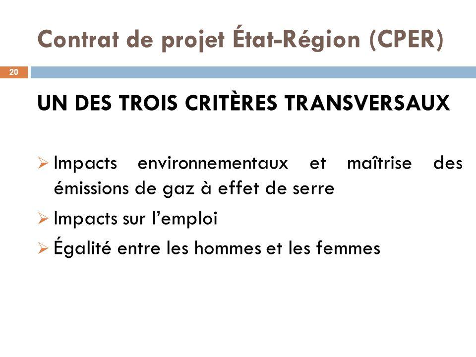 Contrat de projet État-Région (CPER) 20 UN DES TROIS CRITÈRES TRANSVERSAUX  Impacts environnementaux et maîtrise des émissions de gaz à effet de serre  Impacts sur l'emploi  Égalité entre les hommes et les femmes
