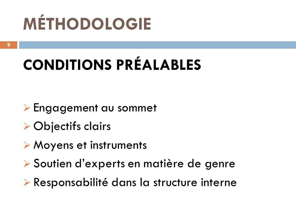 MÉTHODOLOGIE 9 CONDITIONS PRÉALABLES  Engagement au sommet  Objectifs clairs  Moyens et instruments  Soutien d'experts en matière de genre  Responsabilité dans la structure interne