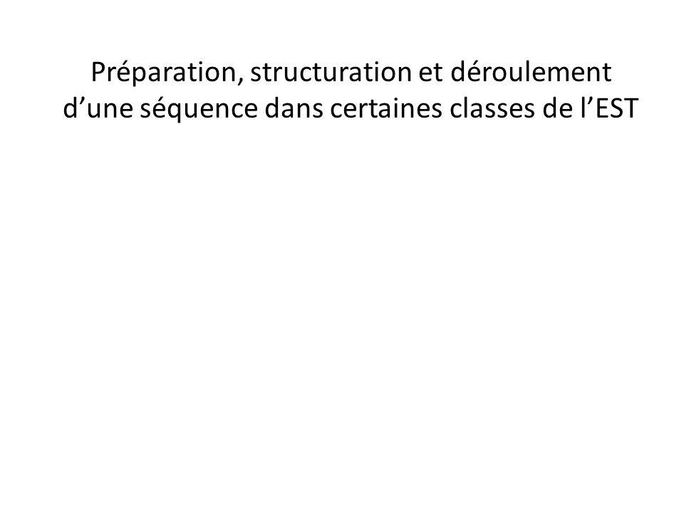 Préparation, structuration et déroulement d'une séquence dans certaines classes de l'EST