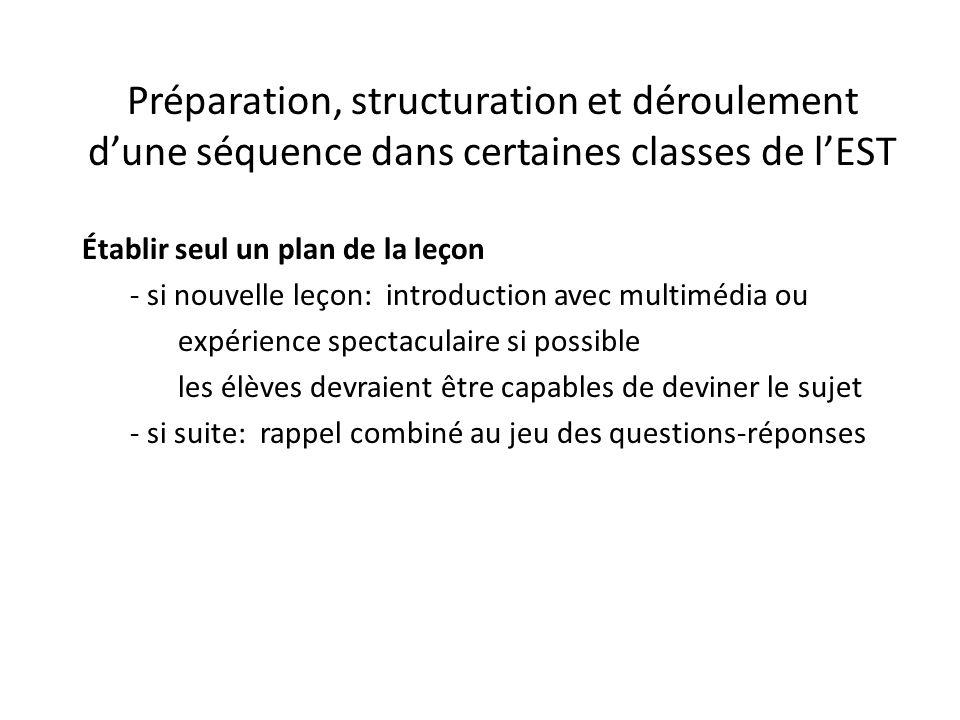 Préparation, structuration et déroulement d'une séquence dans certaines classes de l'EST Établir seul un plan de la leçon - si nouvelle leçon: introdu