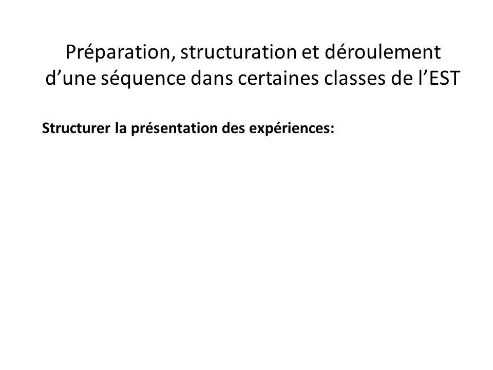 Préparation, structuration et déroulement d'une séquence dans certaines classes de l'EST Structurer la présentation des expériences: