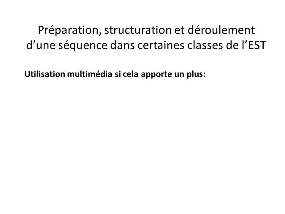 Préparation, structuration et déroulement d'une séquence dans certaines classes de l'EST Utilisation multimédia si cela apporte un plus: