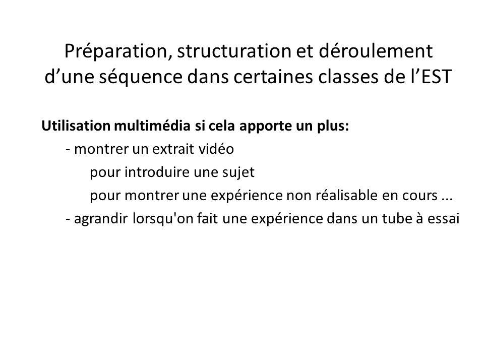 Préparation, structuration et déroulement d'une séquence dans certaines classes de l'EST Utilisation multimédia si cela apporte un plus: - montrer un