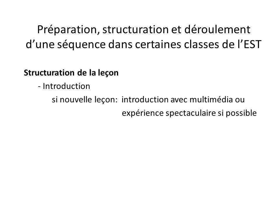 Préparation, structuration et déroulement d'une séquence dans certaines classes de l'EST Structuration de la leçon - Introduction si nouvelle leçon: introduction avec multimédia ou expérience spectaculaire si possible
