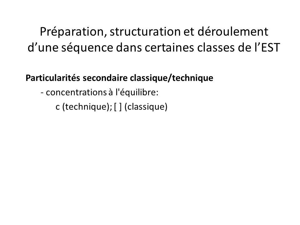 Préparation, structuration et déroulement d'une séquence dans certaines classes de l'EST Particularités secondaire classique/technique - concentrations à l équilibre: c (technique); [ ] (classique)