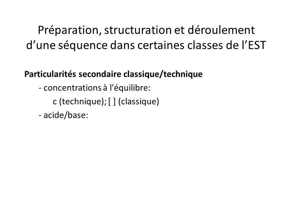 Préparation, structuration et déroulement d'une séquence dans certaines classes de l'EST Particularités secondaire classique/technique - concentrations à l équilibre: c (technique); [ ] (classique) - acide/base: