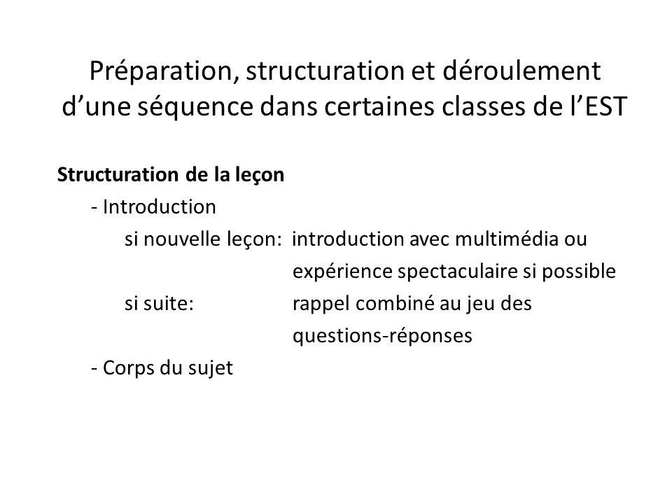 Préparation, structuration et déroulement d'une séquence dans certaines classes de l'EST Structuration de la leçon - Introduction si nouvelle leçon: i