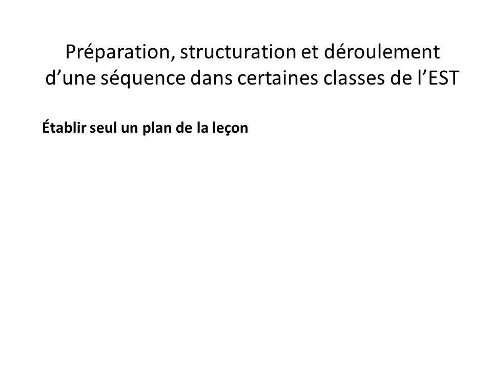 Préparation, structuration et déroulement d'une séquence dans certaines classes de l'EST Établir seul un plan de la leçon