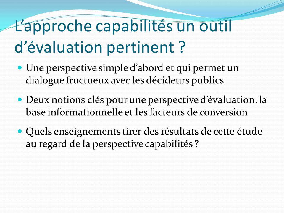 L'approche capabilités un outil d'évaluation pertinent .
