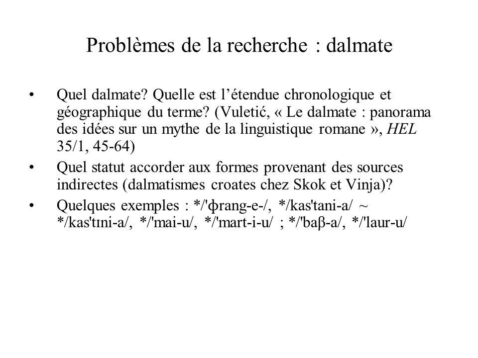 Problèmes de la recherche : dalmate Quel dalmate? Quelle est l'étendue chronologique et géographique du terme? (Vuletić, « Le dalmate : panorama des i