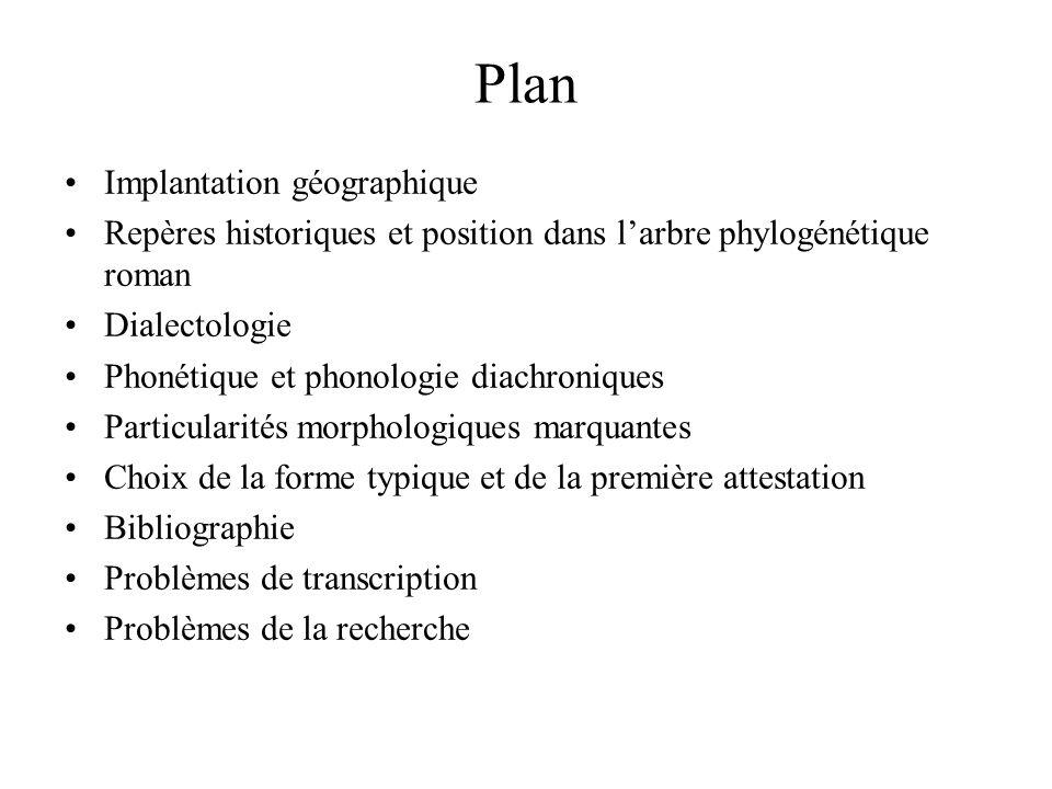 Plan Implantation géographique Repères historiques et position dans l'arbre phylogénétique roman Dialectologie Phonétique et phonologie diachroniques