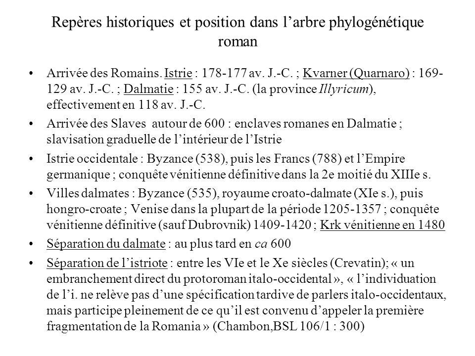 Repères historiques et position dans l'arbre phylogénétique roman Arrivée des Romains. Istrie : 178-177 av. J.-C. ; Kvarner (Quarnaro) : 169- 129 av.
