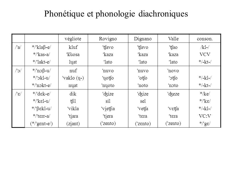 Phonétique et phonologie diachroniques véglioteRovignoDignanoValleconson. /'a/ */'klaβ-e/ */'kas-a/ */'lakt-e/ kluf 'k ͡ uosa lu ̯ at ' ʧ avo 'kaza 'l
