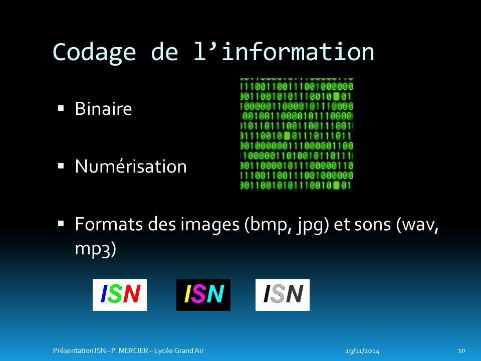  Binaire  Numérisation  Formats des images (bmp, jpg) et sons (wav, mp3) Codage de l'information 19/11/2014 10 Présentation ISN – P.