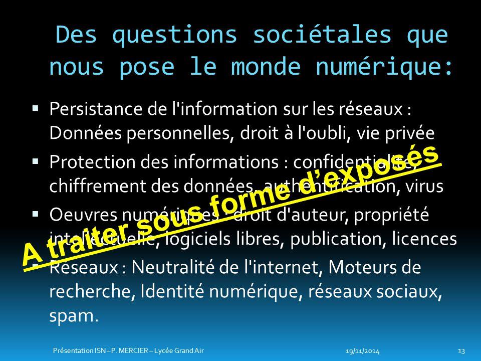  Persistance de l'information sur les réseaux : Données personnelles, droit à l'oubli, vie privée  Protection des informations : confidentialité, ch