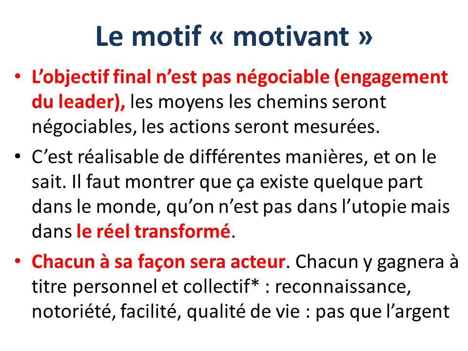 Le motif « motivant » L'objectif final n'est pas négociable (engagement du leader), les moyens les chemins seront négociables, les actions seront mesu
