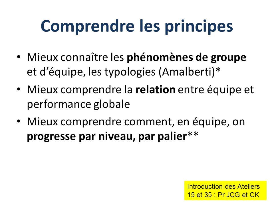 Mieux connaître les phénomènes de groupe et d'équipe, les typologies (Amalberti)* Mieux comprendre la relation entre équipe et performance globale Mie