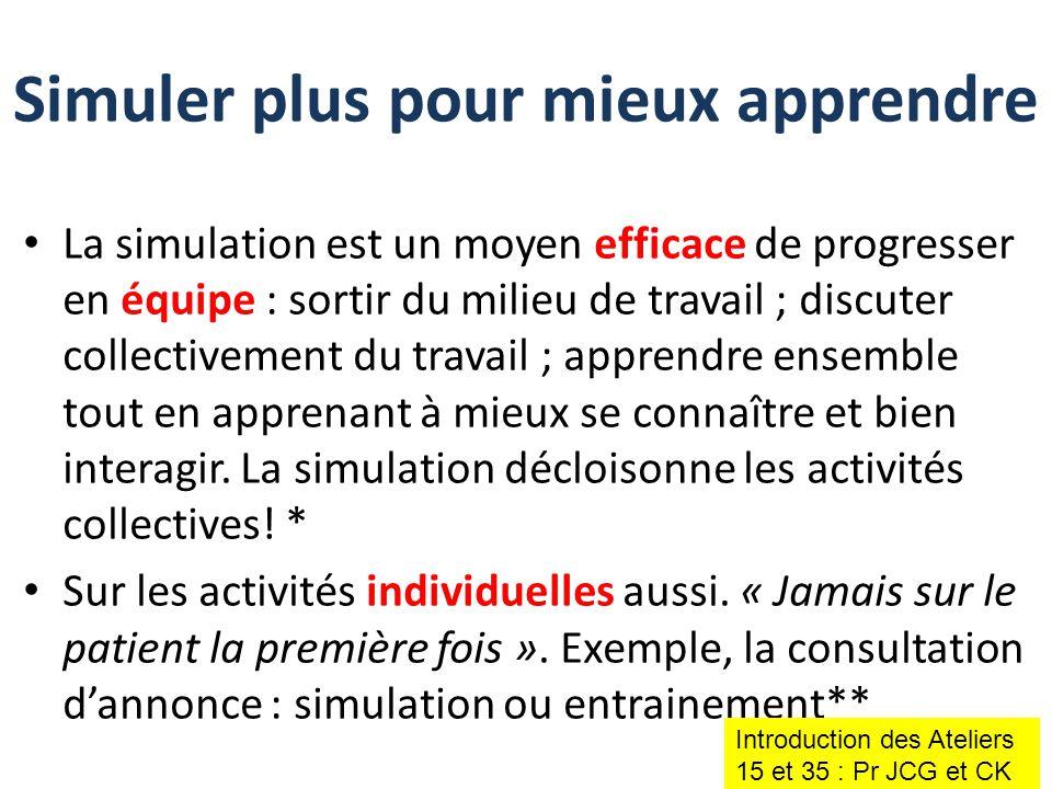 La simulation est un moyen efficace de progresser en équipe : sortir du milieu de travail ; discuter collectivement du travail ; apprendre ensemble to