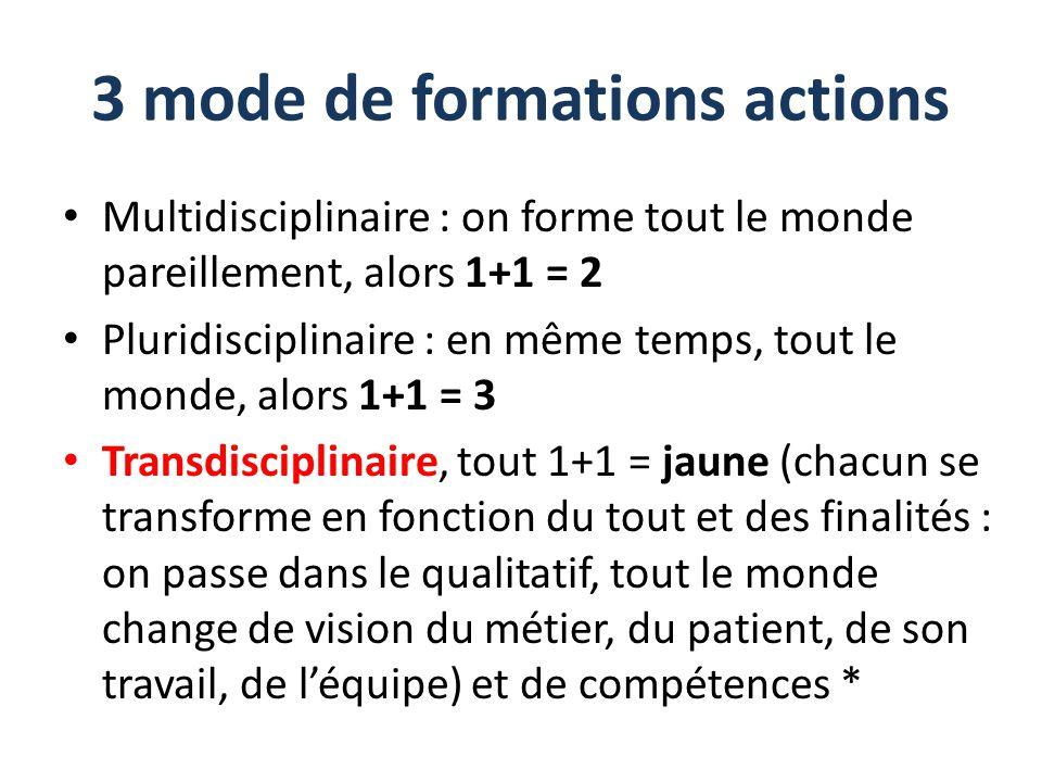 3 mode de formations actions Multidisciplinaire : on forme tout le monde pareillement, alors 1+1 = 2 Pluridisciplinaire : en même temps, tout le monde