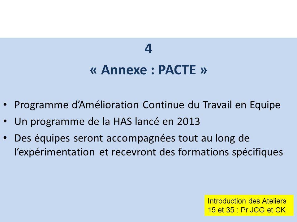 4 « Annexe : PACTE » Programme d'Amélioration Continue du Travail en Equipe Un programme de la HAS lancé en 2013 Des équipes seront accompagnées tout