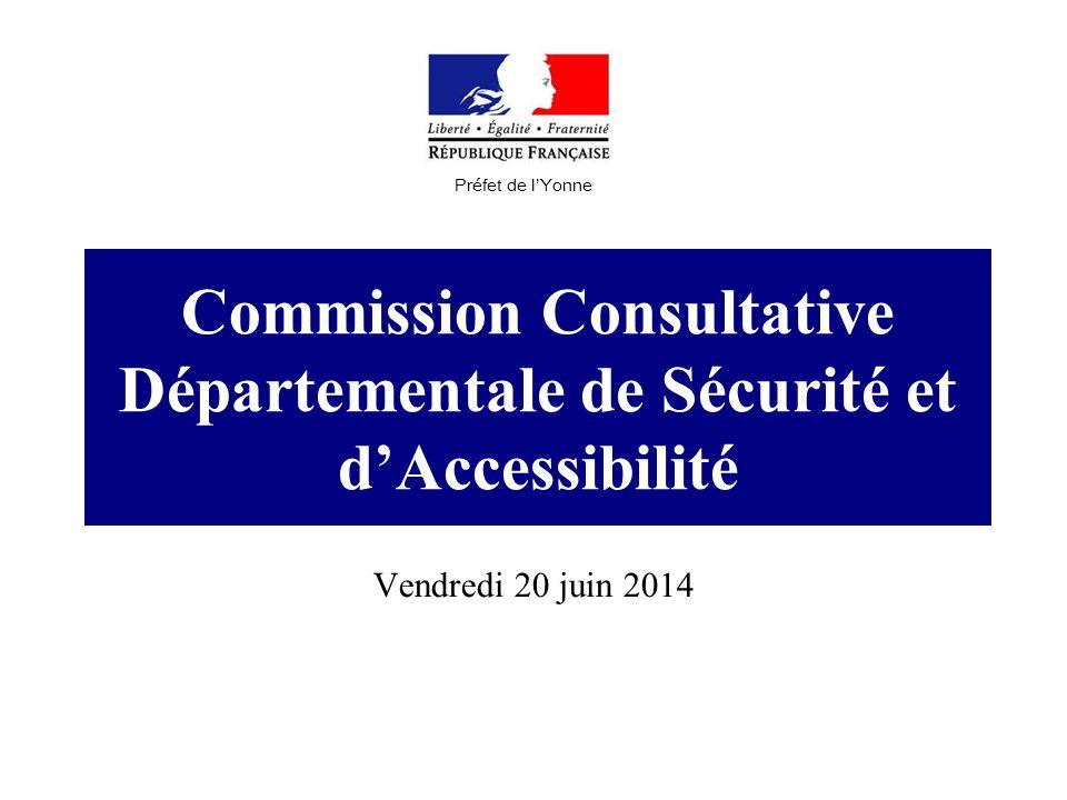 Commission Consultative Départementale de Sécurité et d'Accessibilité Vendredi 20 juin 2014 Préfet de l'Yonne