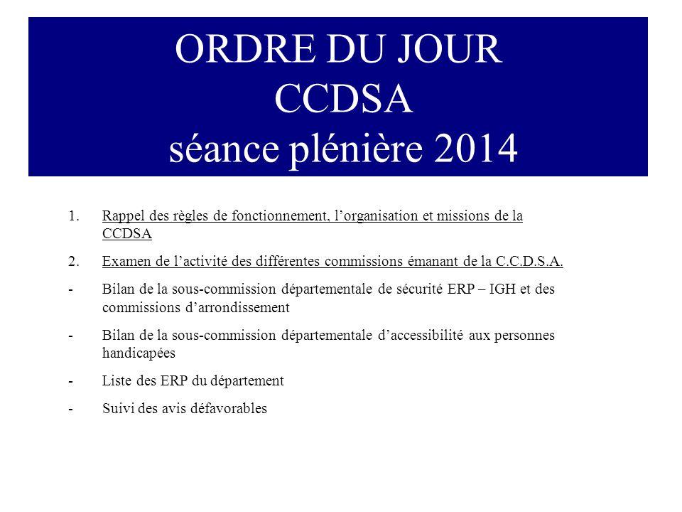 ORDRE DU JOUR CCDSA séance plénière 2014 1.Rappel des règles de fonctionnement, l'organisation et missions de la CCDSA 2.Examen de l'activité des différentes commissions émanant de la C.C.D.S.A.