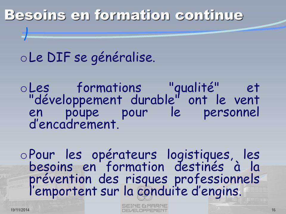 19/11/201416 o Le DIF se généralise. o Les formations
