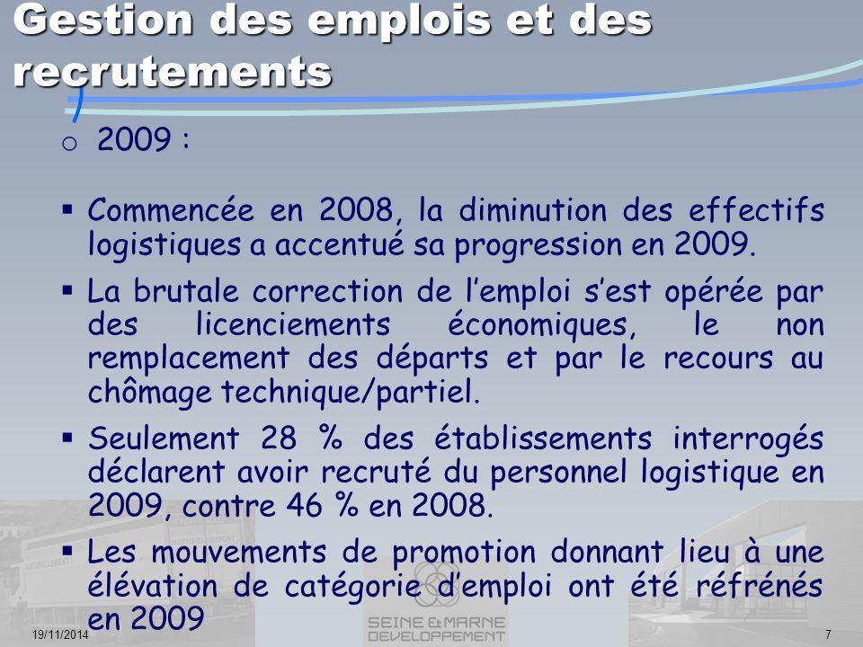 19/11/20147 o 2009 :  Commencée en 2008, la diminution des effectifs logistiques a accentué sa progression en 2009.  La brutale correction de l'empl