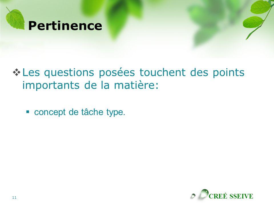 CREÉ SSEIVE 11 Pertinence  Les questions posées touchent des points importants de la matière:  concept de tâche type.