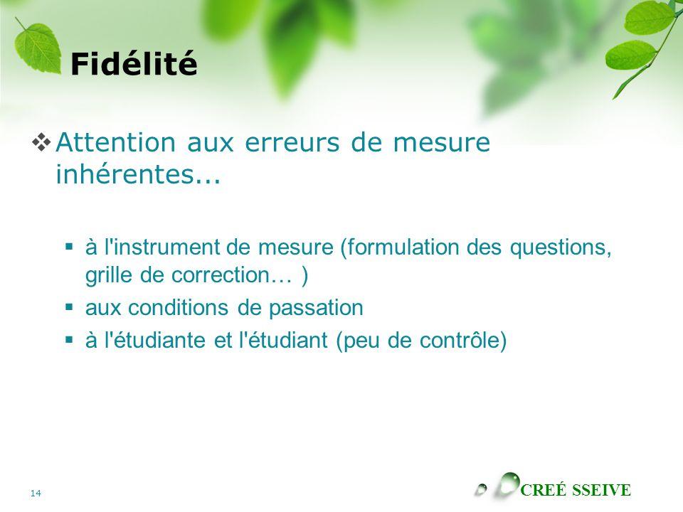 CREÉ SSEIVE 14 Fidélité  Attention aux erreurs de mesure inhérentes...