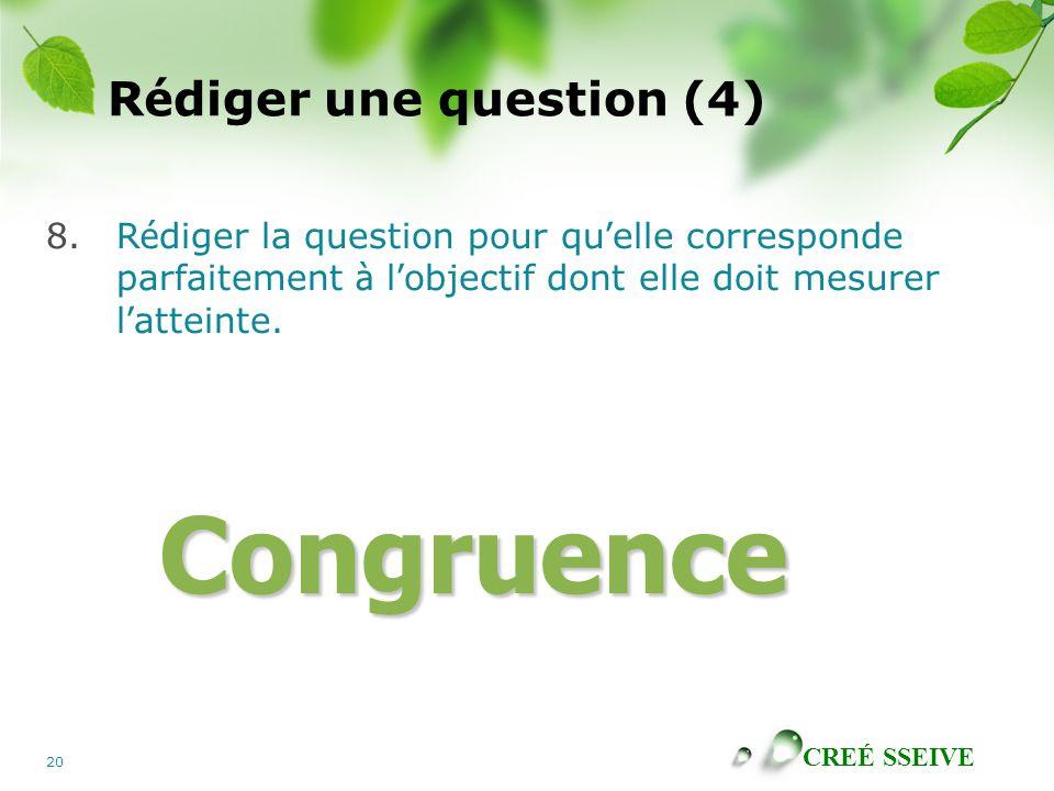 CREÉ SSEIVE 20 R é diger une question (4) 8.R é diger la question pour qu ' elle corresponde parfaitement à l ' objectif dont elle doit mesurer l ' atteinte.