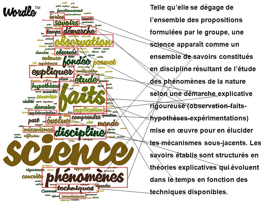 Telle qu'elle se dégage de l'ensemble des propositions formulées par le groupe, une science apparaît comme un ensemble de savoirs constitués en discip