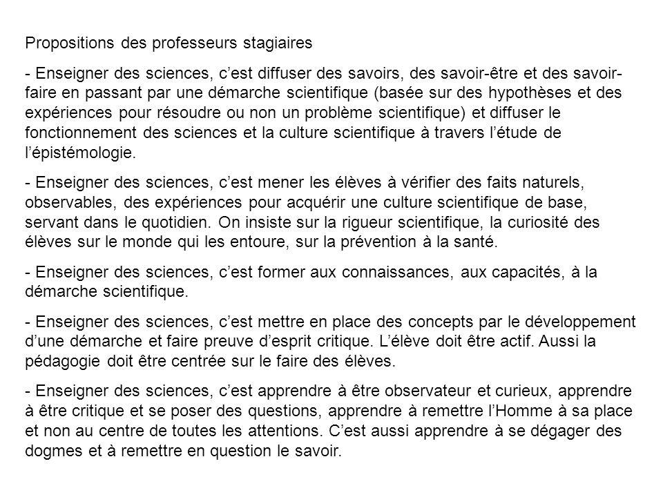Propositions des professeurs stagiaires - Enseigner des sciences, c'est diffuser des savoirs, des savoir-être et des savoir- faire en passant par une