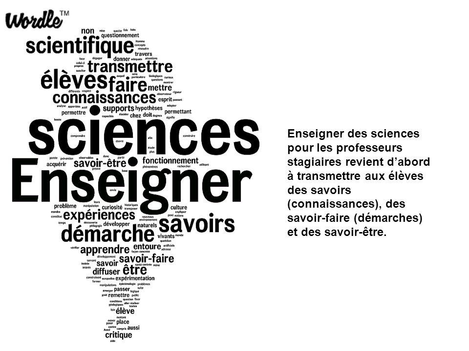 Enseigner des sciences pour les professeurs stagiaires revient d'abord à transmettre aux élèves des savoirs (connaissances), des savoir-faire (démarch