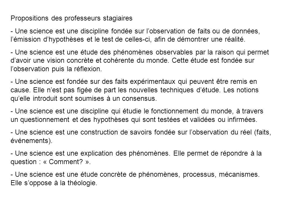 Propositions des professeurs stagiaires - Une science est une discipline fondée sur l'observation de faits ou de données, l'émission d'hypothèses et l
