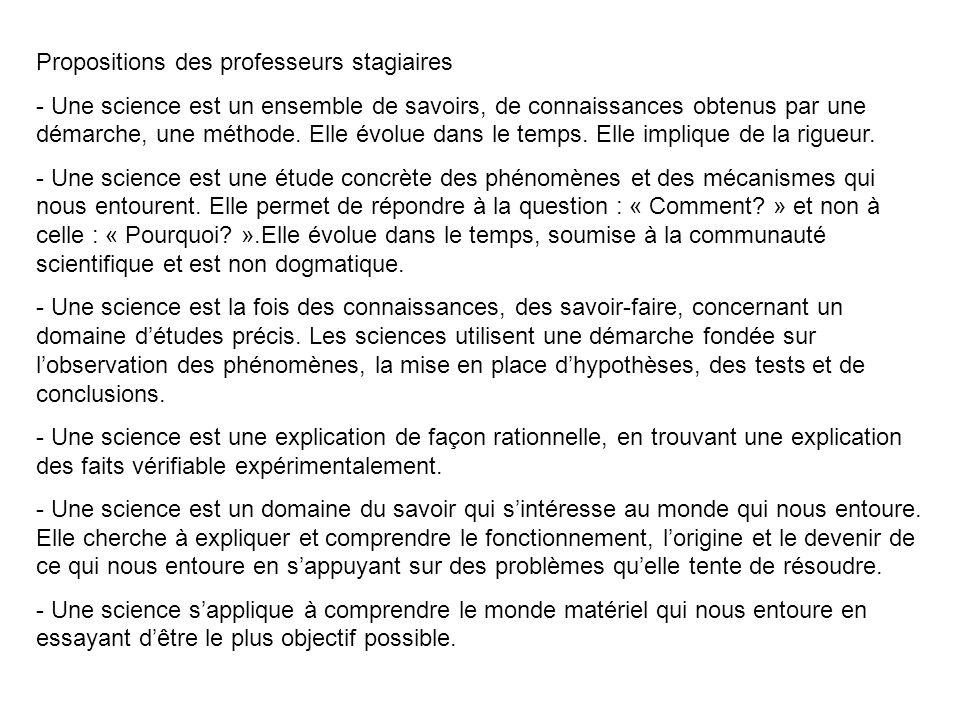 Propositions des professeurs stagiaires - Une science est un ensemble de savoirs, de connaissances obtenus par une démarche, une méthode. Elle évolue