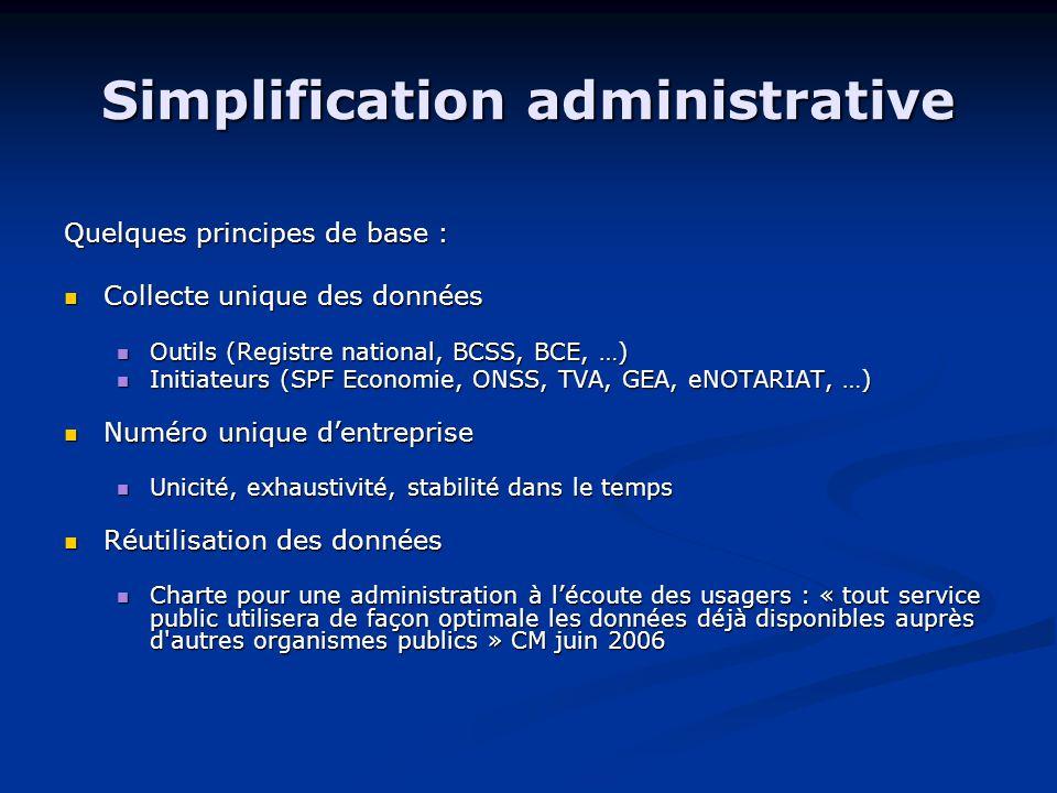 Simplification administrative Quelques principes de base : Collecte unique des données Collecte unique des données Outils (Registre national, BCSS, BCE, …) Outils (Registre national, BCSS, BCE, …) Initiateurs (SPF Economie, ONSS, TVA, GEA, eNOTARIAT, …) Initiateurs (SPF Economie, ONSS, TVA, GEA, eNOTARIAT, …) Numéro unique d'entreprise Numéro unique d'entreprise Unicité, exhaustivité, stabilité dans le temps Unicité, exhaustivité, stabilité dans le temps Réutilisation des données Réutilisation des données Charte pour une administration à l'écoute des usagers : « tout service public utilisera de façon optimale les données déjà disponibles auprès d autres organismes publics » CM juin 2006 Charte pour une administration à l'écoute des usagers : « tout service public utilisera de façon optimale les données déjà disponibles auprès d autres organismes publics » CM juin 2006