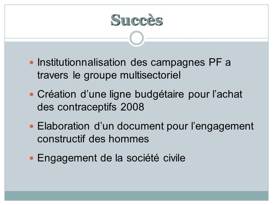 Succès Institutionnalisation des campagnes PF a travers le groupe multisectoriel Création d'une ligne budgétaire pour l'achat des contraceptifs 2008 Elaboration d'un document pour l'engagement constructif des hommes Engagement de la société civile