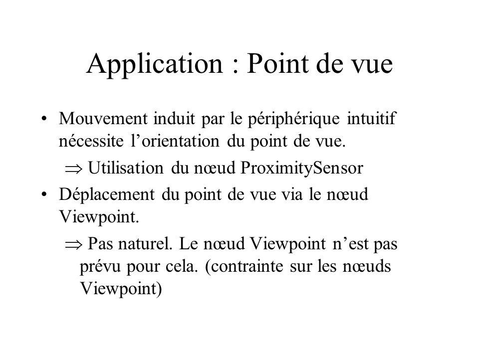 Application : Point de vue Mouvement induit par le périphérique intuitif nécessite l'orientation du point de vue.