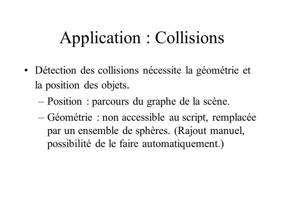 Application : Collisions Détection des collisions nécessite la géométrie et la position des objets.