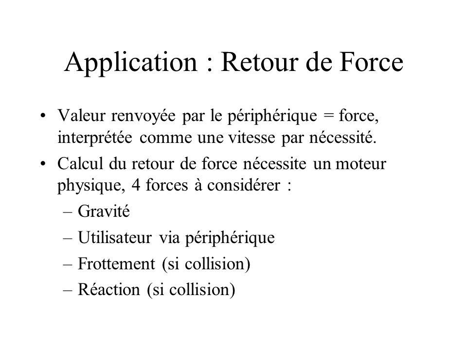 Application : Retour de Force Valeur renvoyée par le périphérique = force, interprétée comme une vitesse par nécessité.