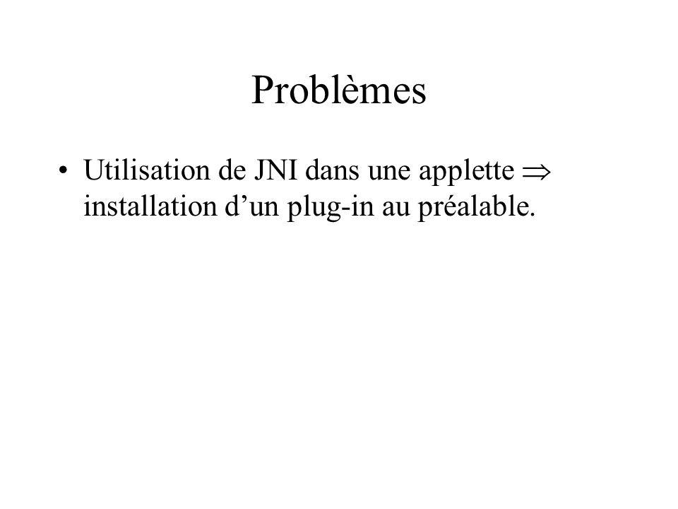 Problèmes Utilisation de JNI dans une applette  installation d'un plug-in au préalable.