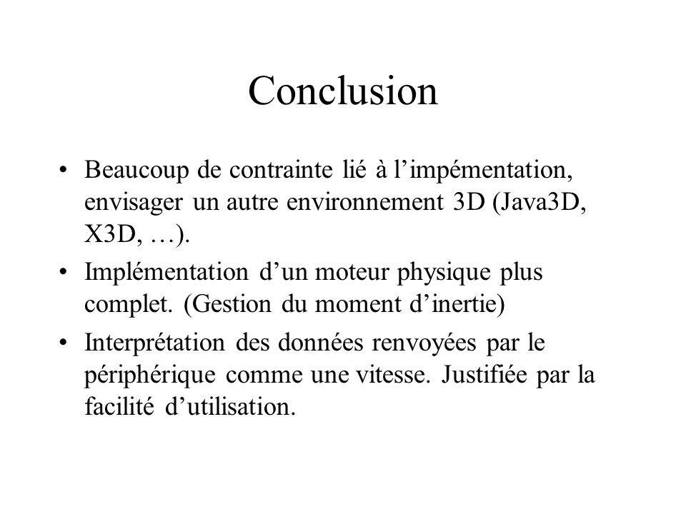 Conclusion Beaucoup de contrainte lié à l'impémentation, envisager un autre environnement 3D (Java3D, X3D, …).
